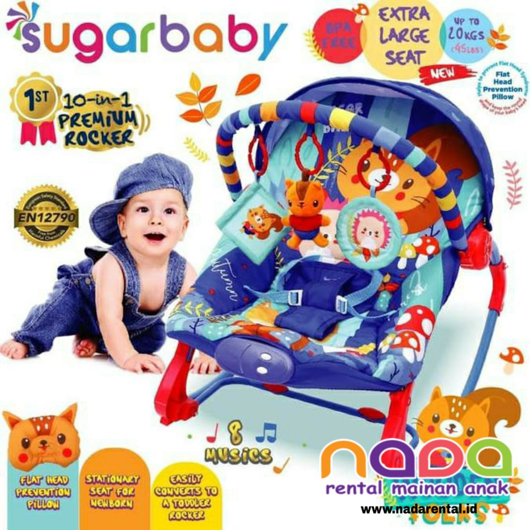 SUGARBABY BOUNCER PREMIUM ROCKER 10 IN 1 NAVY