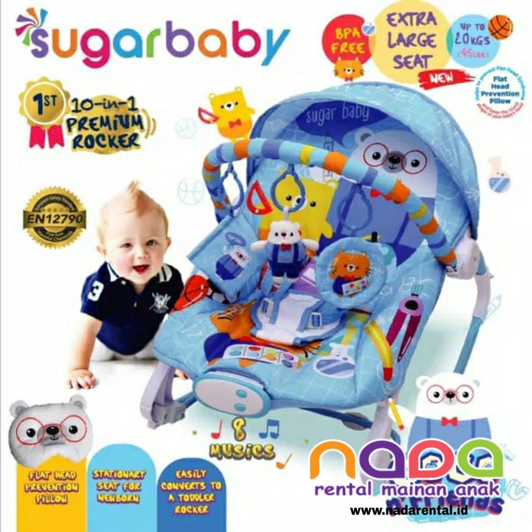 SUGARBABY BOUNCER PREMIUM ROCKER 10 IN 1 WHITE BLU - UT